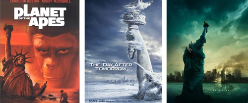 V.l.n.r. Filmposters voor Planet of the Apes (1968), The Day After Tomorrow (2004) en Cloverfield (2008)