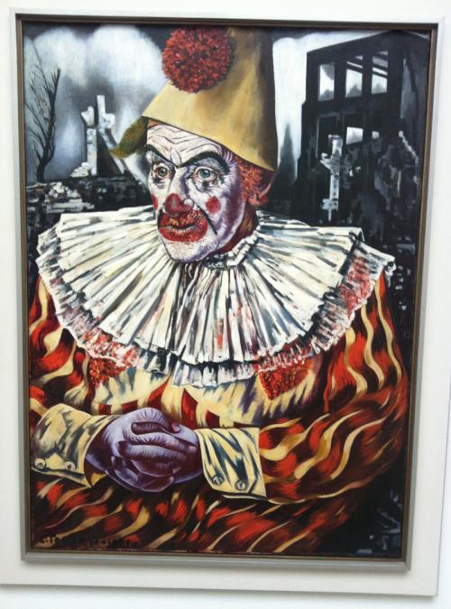 Clown voor ruïnes van Rotterdam Charley Toorop 1940 - 1941