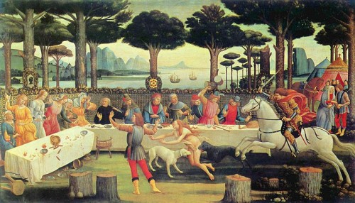 Sandro Botticelli: The Story of Nastagio Degli Onesti: The Banquet in the Pine Forest.