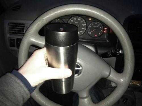 Met mijn vertrouwde thermosmok koffie.
